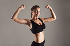 Model with good figure doing training Royalty Free Stock Photos