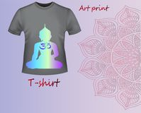 A model of a gray T-shirt with a neon print Buddha Royalty Free Stock Photos