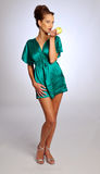 The model in green dress Stock Photography