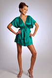 The model in green dress. The attractive woman in green satin dress Stock Image