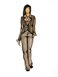 Model in grey. One of the illustration from my set of fashion illustratoins Stock Photography