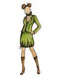 Model in groen Stock Afbeelding