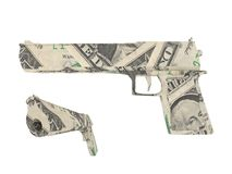 Model of a gun made by dollar bills Royalty Free Stock Photography
