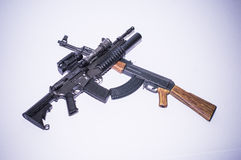 Model guns figure. Figure and toys model guns ak47 m4 Stock Photo