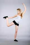 Model with gymnastic exercises Royalty Free Stock Photography