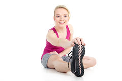 Model with gymnastic exercises Stock Photos