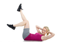 Model with gymnastic exercises Royalty Free Stock Photo