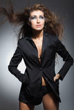 Model with hair blowing in the wind. Fashion model with hair blowing in the wind stock image