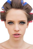 Model with hair curlers in close up Stock Photos