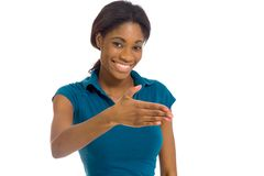 Model  with hand shake Stock Photography