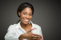 Model  with hand shake Royalty Free Stock Photo