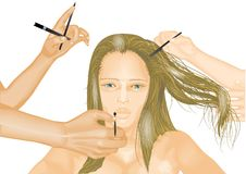 Model and hands of stylists Royalty Free Stock Image