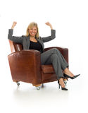 Model happy successful arms in the air Royalty Free Stock Photos