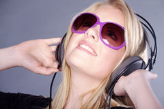 Model with headphones Stock Image