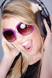 Model with headphones Stock Images