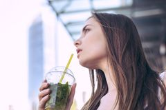 Model healthy food lips hungry energy hot sun day weather concept. Low angle side profile turned half close up portrait of beautif stock photography