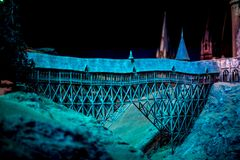 A model of Hogwarts Bridge in Warner Brothers Harry Potter Studio Tour Royalty Free Stock Image