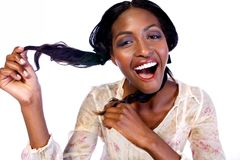 Model hold her hair colored Royalty Free Stock Photo