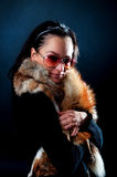 Model holding fox fur Royalty Free Stock Image