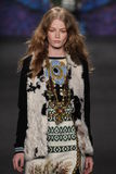 Model Hollie-May Saker walks the runway at the Anna Sui fashion show during MBFW Fall 2015 Stock Photography