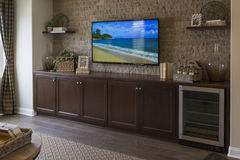 Model home entertainment room, California. Stock Photo