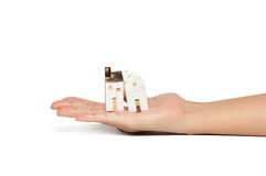 Model home in hand. Home in hand is isolated shot royalty free stock photos