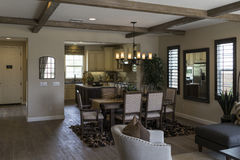 Model home kitchen and dining room, California. Royalty Free Stock Image