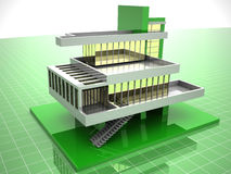 Model of house. 3d Very beautiful three-dimensional illustration, figure Stock Image