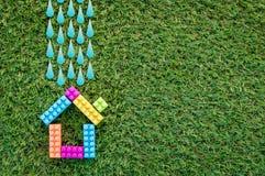 Model house against the Field Rainy Season Royalty Free Stock Photography