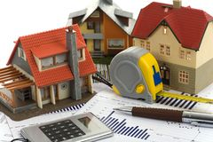 Free Model House And Calculator Royalty Free Stock Photography - 13378807