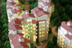 Model of house. Model of building night view Royalty Free Stock Photo