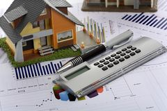Model house and calculator Royalty Free Stock Images