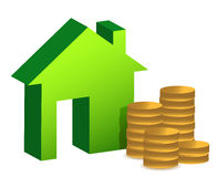 Model house and coins illustration design. Over white Royalty Free Stock Photography
