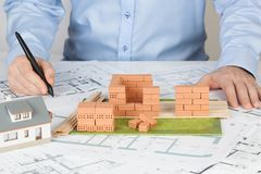 Model house construction with brick royalty free stock image