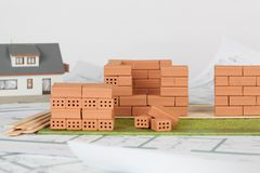 Model house construction with brick stock photo