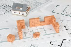 Model house construction with brick royalty free stock photo