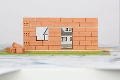 Model house construction with brick royalty free stock images