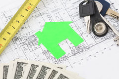 Model house on construction plan Royalty Free Stock Image
