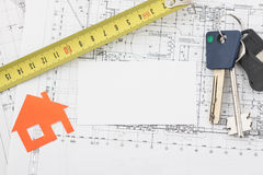 Model house on construction plan Royalty Free Stock Photos