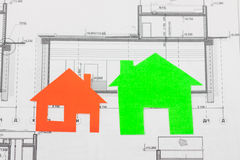 Model house on construction plan Stock Images