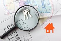 Model house, construction plan for house building, keys. Real Estate Concept. Stock Photos