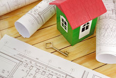 Model house with design drawings Stock Photography