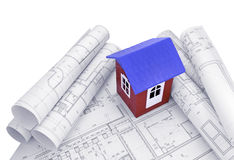 Model house with design drawings Royalty Free Stock Image