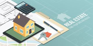 Real estate and home insurance. Model house on a digital tablet, home project, map and contract: real estate, home insurance and loan concept Stock Photography