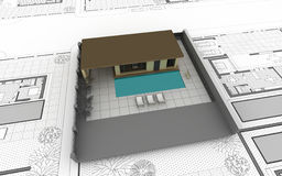 Model of the house on the drawing. 3d model of the house on the drawing Stock Image