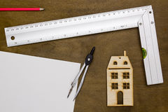 Model house and drawing tools Royalty Free Stock Images