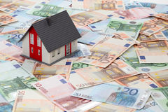 Model house on euro banknotes. Background Royalty Free Stock Photos