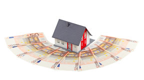 Model house. And euro banknotes isolated on white Royalty Free Stock Photos