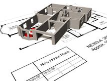Model house on floorplan. A 3D illustration of the walls and stairs of a house on top of new house plans sheets Stock Photos