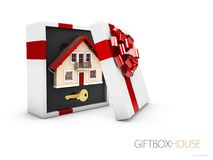 Model of a house in gift box with red ribbon, 3d illustration.  Stock Photos